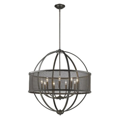 Tensed 9-Light Drum Shade Foyer Pendant Finish: Etruscan Bronze