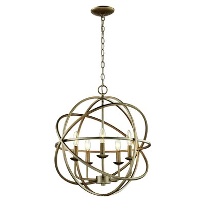 Hankinson 5-Light Globe Pendant Finish: Antique Silver Leaf