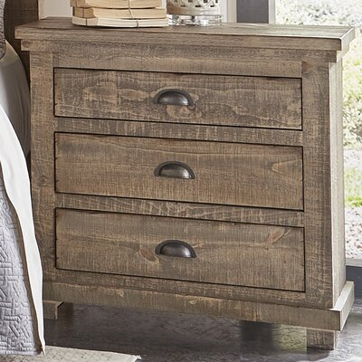Castagnier 3 Drawer Night Stand Finish: Weathered Grey