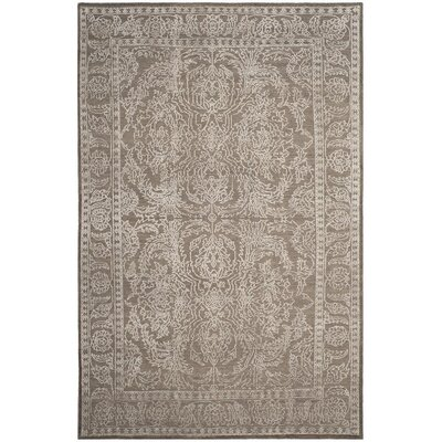 Cheverny Hand-Knotted Stone Gray/Pearl Area Rug Rug Size: 6 x 9