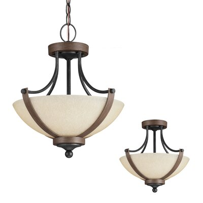 Kenna 2-Light Bowl Pendant Bulb Type: 60W A19 Medium