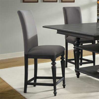 Kenwood Upholstered Counter Height Side Chair (Set of 2) Finish: Ebonized Acacia