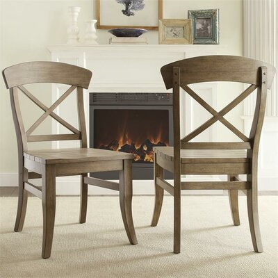 LaShun X-Back Side Chair (Set of 2) Finish: Weathered Driftwood