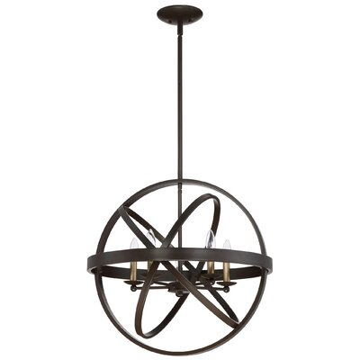 Ingalls Western Bronze 5-Light Globe Chandelier