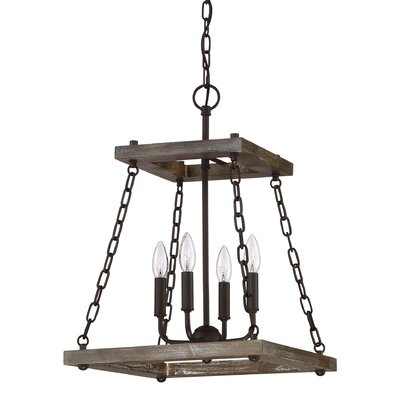 Inez Western Bronze Dwelling 4-Light Foyer Pendant