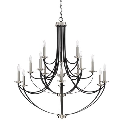 Siavash Mystic Black 15-Light Candle-Style Chandelier