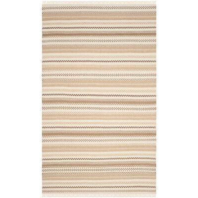 Mahanoy Hand-Woven Beige Area Rug Rug Size: Rectangle 4 x 6