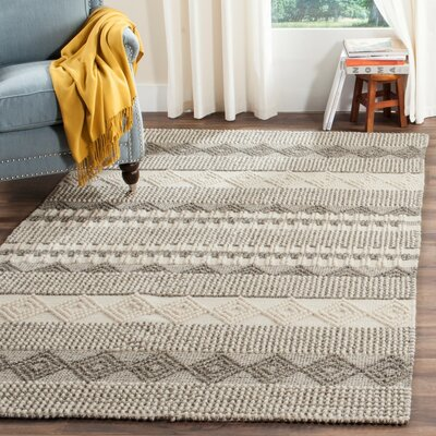 Billie Hand-Tufted Gray/Ivory Area Rug Rug Size: Square 8