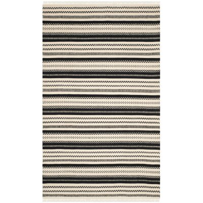 Mahanoy Hand-Woven Ivory/Black Area Rug Rug Size: Rectangle 5 x 8