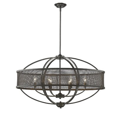 Carroll Valley 6-Light Glass Shade Drum Pendant Finish: Etruscan Bronze