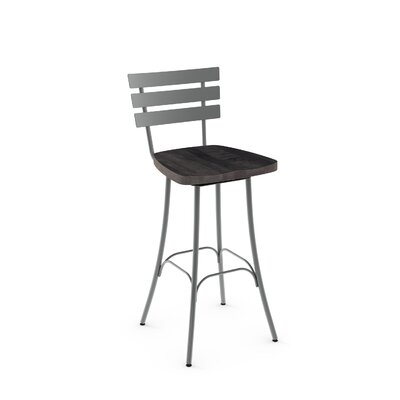 Garance 26 inch Swivel Bar Stool Finish: Glossy Grey metal /Dark Grey Wood