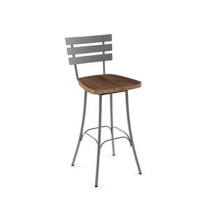 Glenham 30 Swivel Bar Stool Finish: Glossy Grey metal /Medium Brown