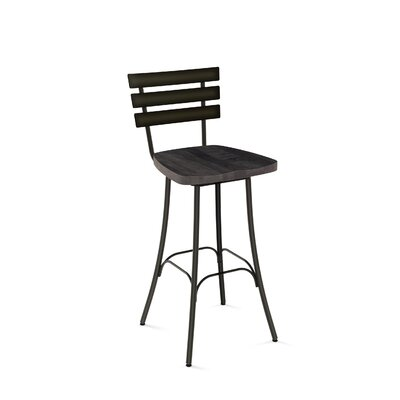 Glenham 26 Swivel Bar Stool Finish: Semi-Transparent metal /Medium Dark Grey