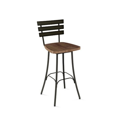 Glenham 30 Swivel Bar Stool Finish: Semi-Transparent metal /Medium Brown
