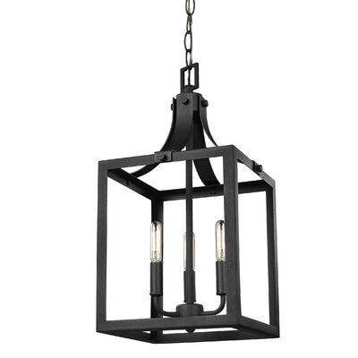Sherri-Ann 3-Light Metal Foyer Pendant Finish: Black