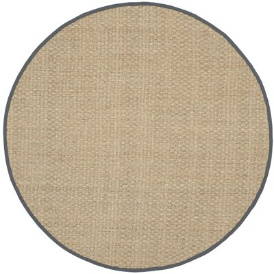 Binford Natural/Dark Gray Area Rug Rug Size: Round 8