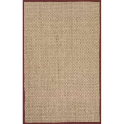 Gaston Seagrass Naturals Ivory/Burgundy Area Rug Rug Size: 5 x 8