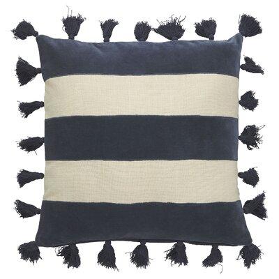 Genevieve Cotton Throw Pillow Color: Seed Pearl/Dark Denim
