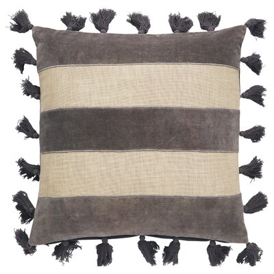 Zayden Striped Square Cotton Throw Pillow Color: Cornstalk/Steeple Gray