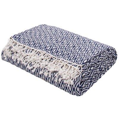 Gene Handloom Modern Throw Blanket Color: Blue
