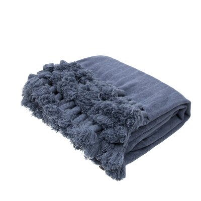 Georgianna Handloom Modern Wool Throw Color: Blue