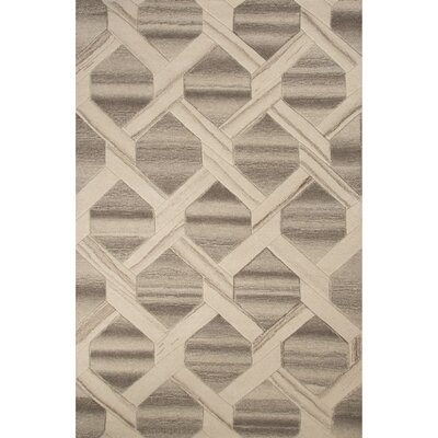 Gena Wool Hand Tufted Ivory/Cloud Cream Area Rug Rug Size: 53 x 76