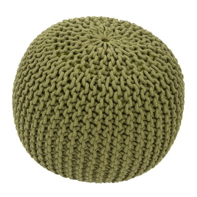 Georgette Solid Cotton Pouf Ottoman Upholstery: Green