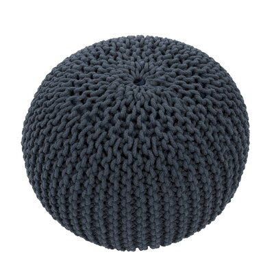 Georgette Solid Cotton Pouf Ottoman Upholstery: Blue