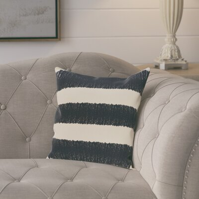 Castleville Square Twisted Stripe Print Throw Pillow Size: 16 H x 16 W, Color: Navy Blue