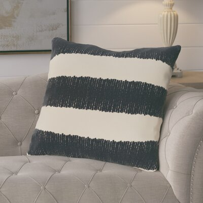 Castleville Twisted Stripe Print Throw Pillow Color: Navy Blue