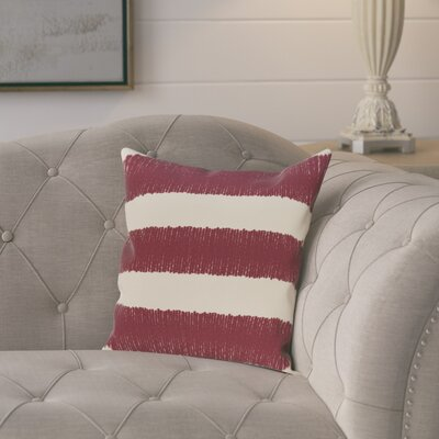 Castleville Square Twisted Stripe Print Throw Pillow Size: 16 H x 16 W, Color: Cranberry/Burgundy