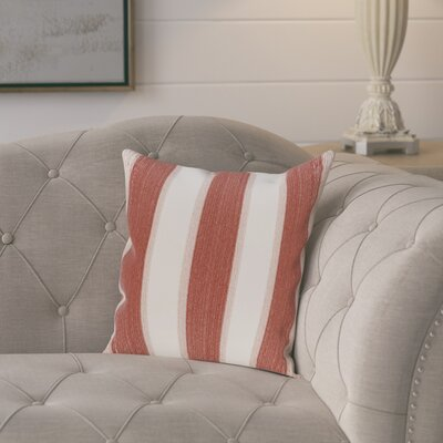 Exie Striate Stripe Stripe Print Throw Pillow Size: 16 H x 16 W, Color: Orange