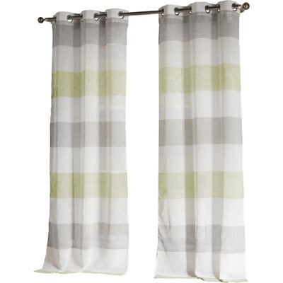 Hiltonia Striped Semi-Sheer Grommet Curtain Panels Color: Yellow/Taupe LRFY5862 34717262