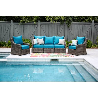 Valentin 5 Piece Deep Seating with Cushion Fabric: Spectrum Peacock