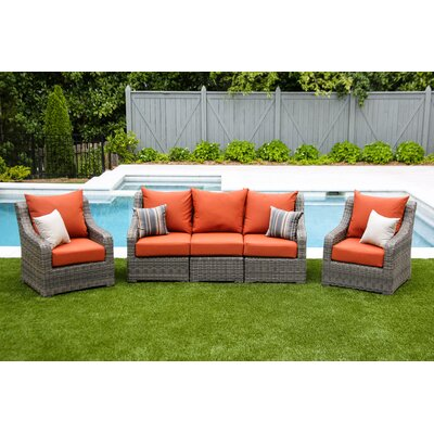 Valentin 5 Piece Deep Seating with Cushion Fabric: Canvas Brick