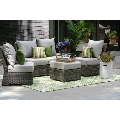 Valentin 5 Piece Armless Deep Seating Group with Cushion Fabric: Cast Ash