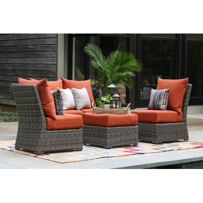 Valentin 5 Piece Armless Deep Seating Group with Cushion Fabric: Canvas Brick