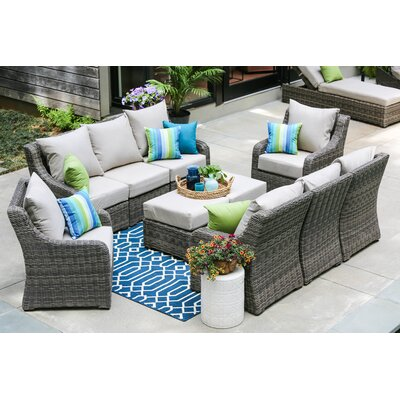Valentin 10 Piece Deep Seating Group with Cushion Fabric: Cast Ash