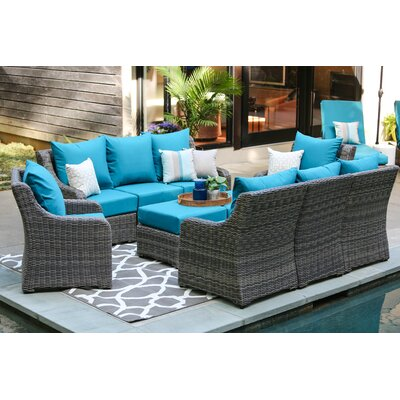Valentin 10 Piece Deep Seating Group with Cushion Fabric: Spectrum Peacock