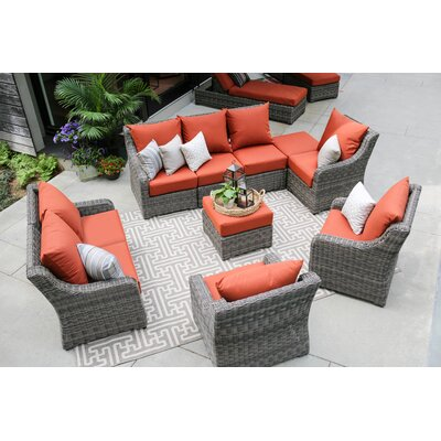 Valentin 10 Piece Deep Seating Group with Cushion Fabric: Canvas Brick