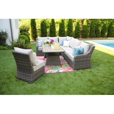Valentin 8 Piece Deep Seating Group with Cushion Fabric: Cast Ash