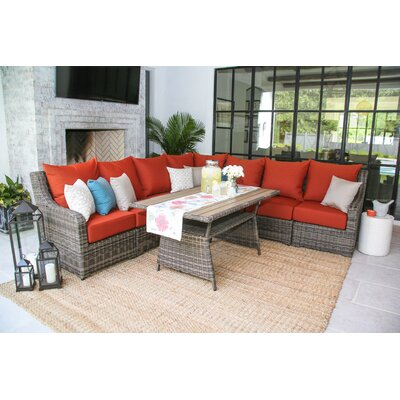 Valentin 8 Piece Deep Seating Group with Cushion Fabric: Canvas Brick