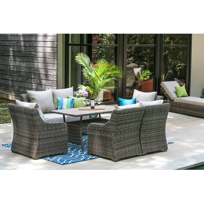 Valentin 7 Piece Deep Seating with Cushion Fabric: Cast Ash