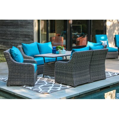 Valentin 7 Piece Deep Seating with Cushion Fabric: Spectrum Peacock