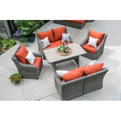 Valentin 7 Piece Deep Seating with Cushion Fabric: Canvas Brick