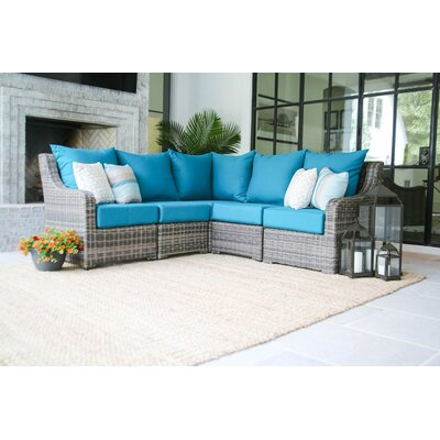 Valentin Sectional Sofa with Cushions Fabric: Spectrum Peacock
