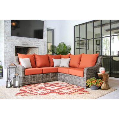 Valentin Sectional Sofa with Cushions Fabric: Canvas Brick