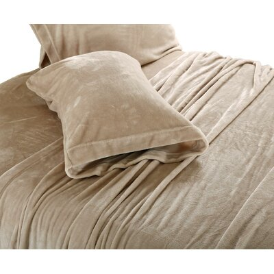 Valeriane Super Soft Plush Sheet Set Size: Twin, Color: Tan