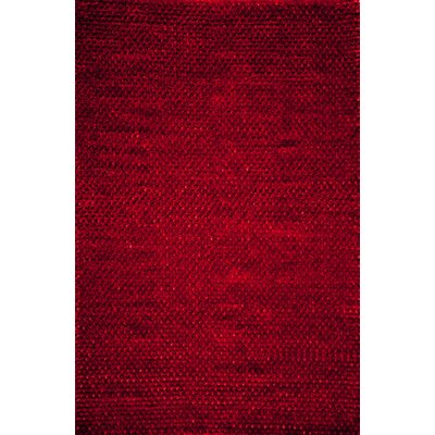 Erable Hand-Woven Red Area Rug Rug Size: 5 x 7