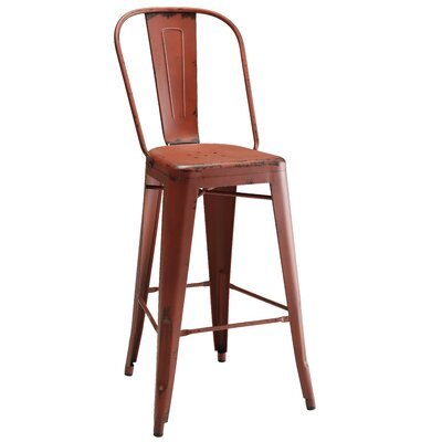 Villette Bar Stool Finish: Red